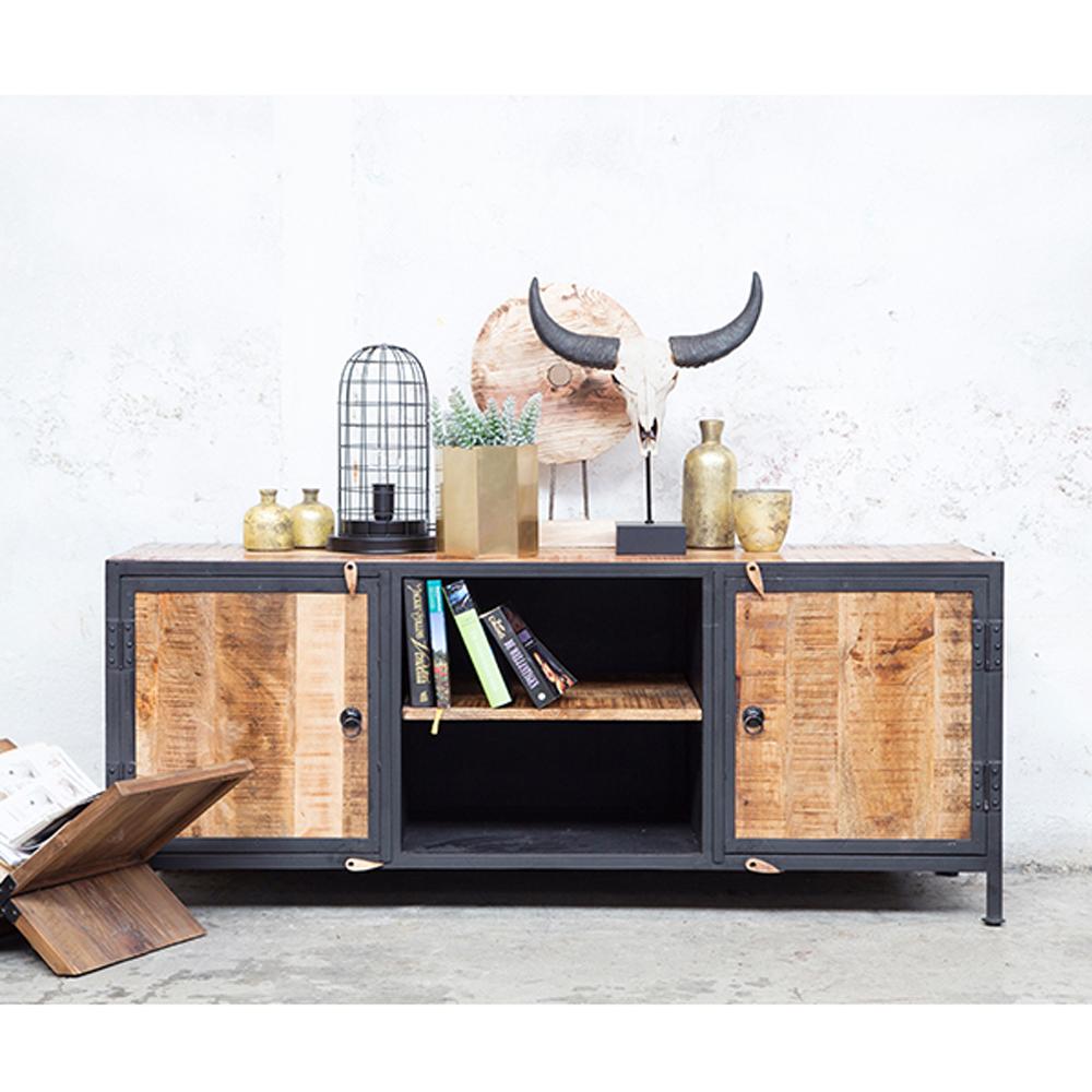 Beliebt TV Möbel Rack NORI B 150 cm Lowboard 2 Türen Fernsehtisch Kommode YD93