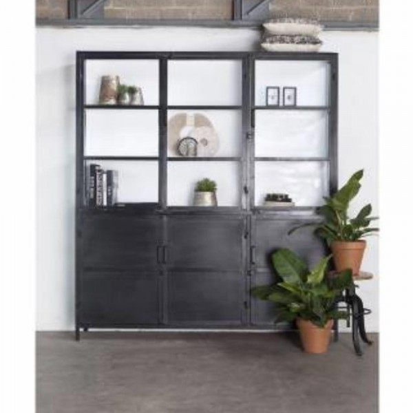Industrie Design Vitrinenschrank Lotte 6 Türen Vitrine Metallschrank Schrank Metall schwarz