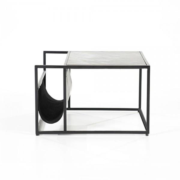 Couchtisch Beistelltisch mit Zeitungsständer DALIAN 60 x 60 cm Marmor schwarz