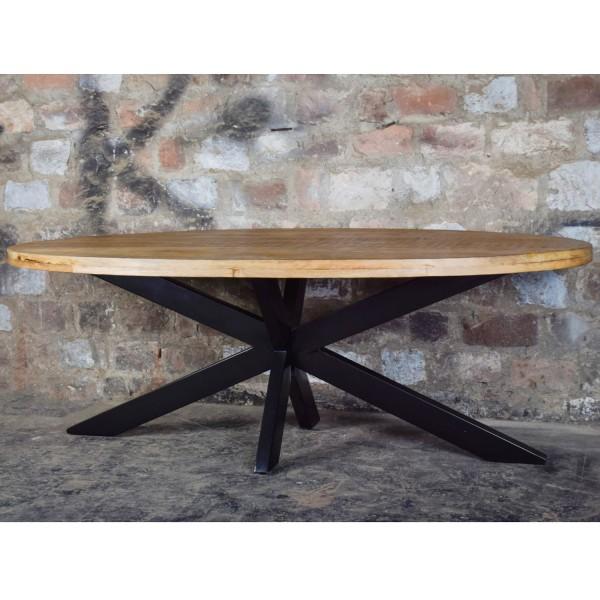 Esstisch Strong Oval 240 x 110 cm Mango Holz Metall