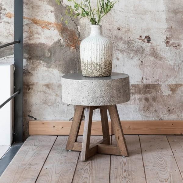 MUST Living Beistelltisch Couchtisch rund Himalaya Ø 40 cm Massivholz Beton weiß