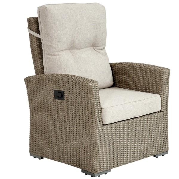 Brafab Gartensessel Ashfield beige verstellbar Polyrattan Polster Gartenmöbel Sessel