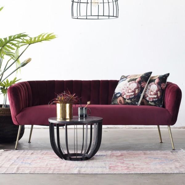 3 Sitzer Sofabank Sofa Amy 180 cm Samt rot Sitzbank