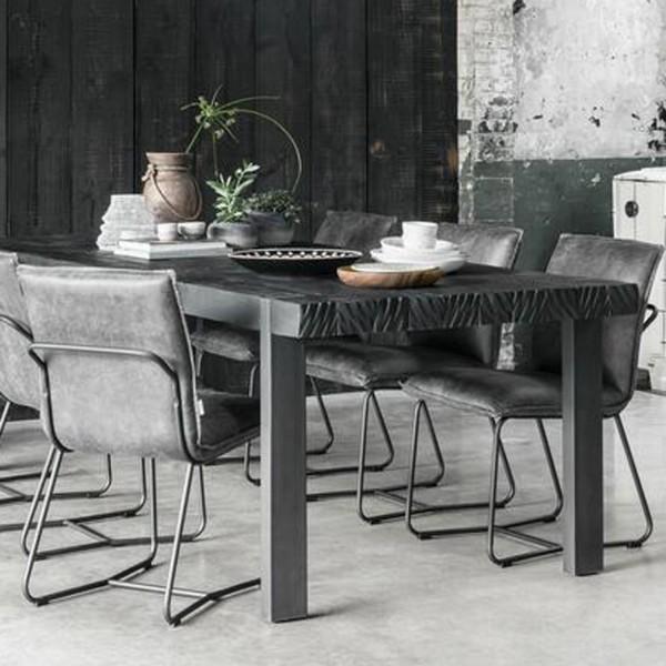 DTP Home Esstisch Beam schwarz 225 x 100 cm recyceltes Teakholz
