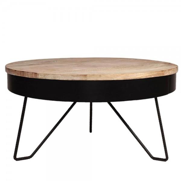 Couchtisch SARAN schwarz Ø 80 cm Metall Mango massiv Beistelltisch Sofatisch Tisch