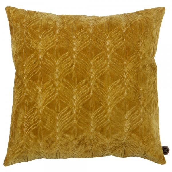 Kissen TWIG 50 x 50 cm Samt senf gelb incl. Füllung
