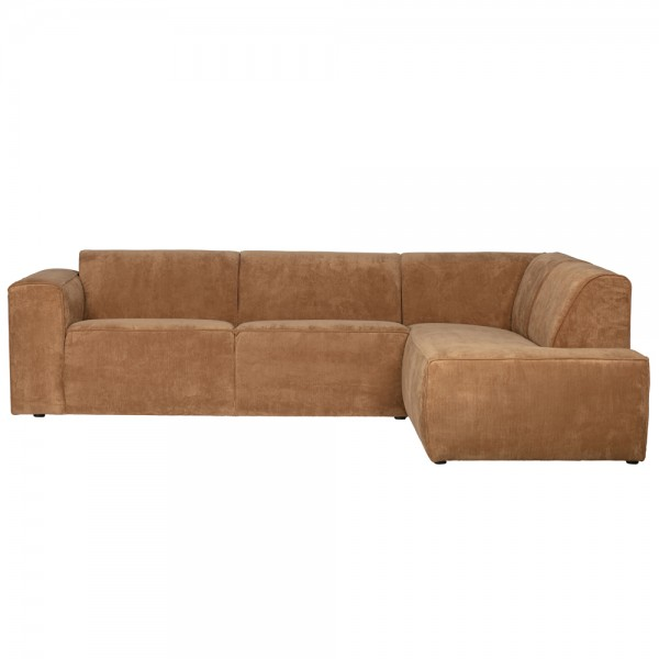 Ecksofa Luna Longchair rechts Ribcord honiggelb Eckcouch Couch Sofa Eckgarnitur