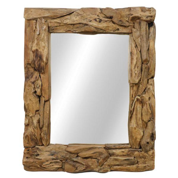 Wandspiegel Root 120 x 80 cm Spiegel Teak natur Wurzelholz Mirror hoch oder quer Montage