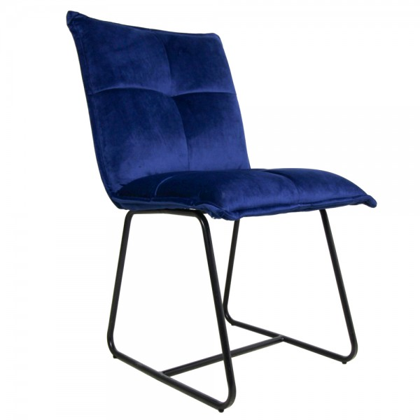 2er Set Stuhl Estelle dunkelblau Samt Esszimmerstuhl