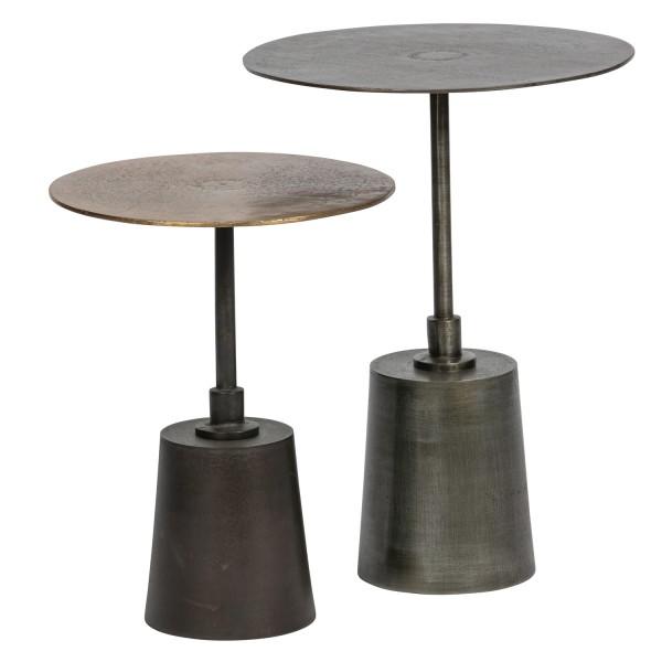 BePureHome 2er Tischset Beistelltisch Crush antik Messing