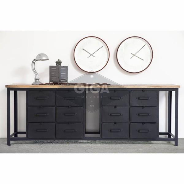 Industrie Sideboard 230 cm Metall schwarz Kommode