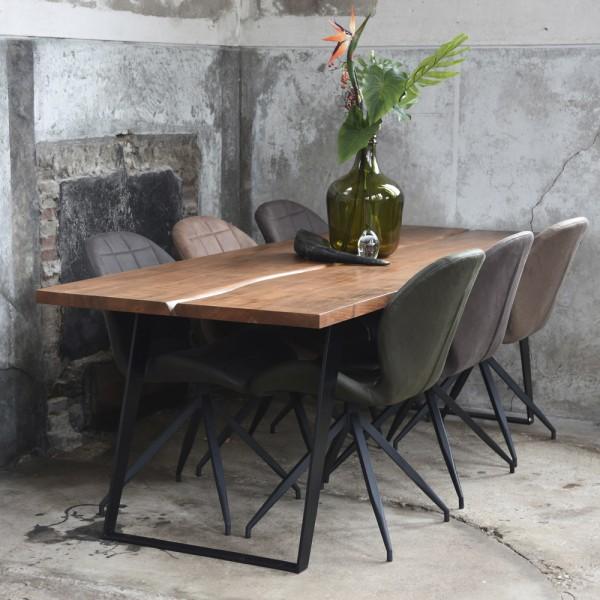 Esstisch Temba 230 x 90 cm Akazie Massivholz Metall Esszimmertisch Tisch