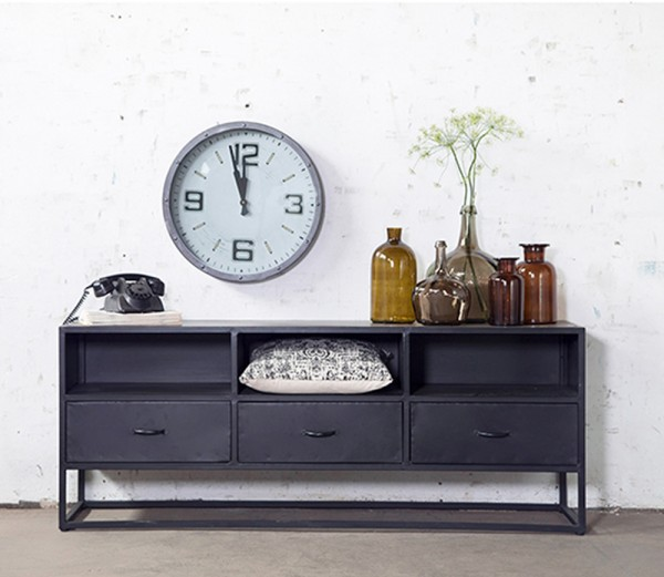 Industrie TV Möbel Urban 160 cm TV Board Sideboard Kommode Metall schwarz