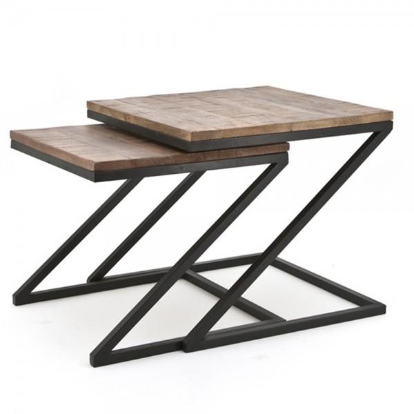 2er Beistelltisch Set ZIG ZAG quadratisch Tischset Anstelltisch Sofatisch