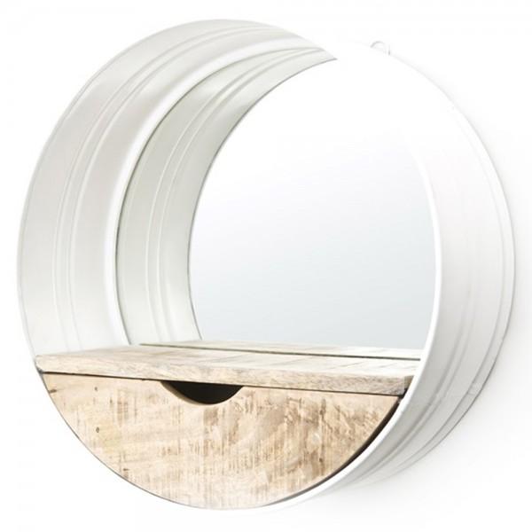 Spiegel rund Ø 40 cm Metall Holz Ablagefläche Staufach Mirror Wandspiegel