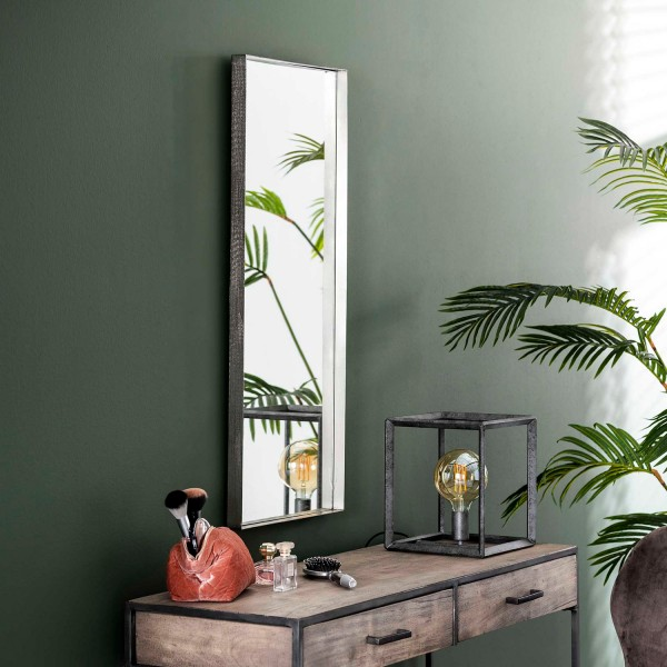 Wandspiegel 100 x 40 cm Metallrahmen antiknickel Spiegel Dekospiegel