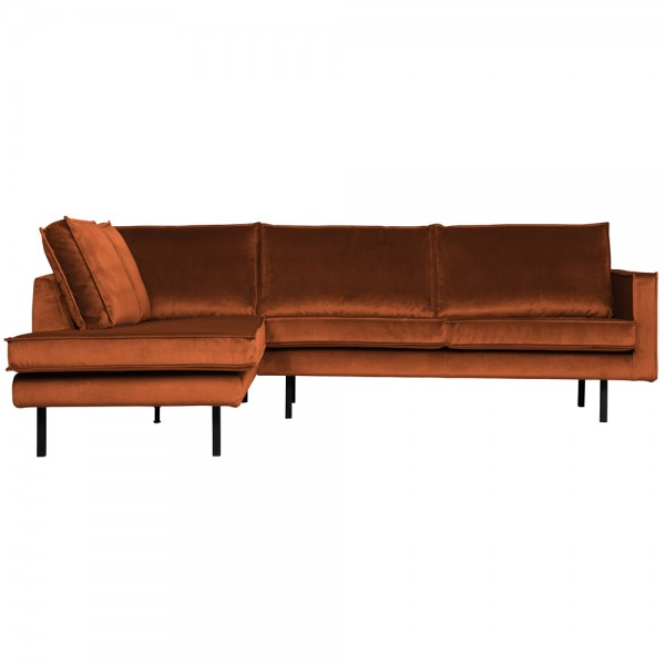 Ecksofa Rodeo Samt rost Longchair links