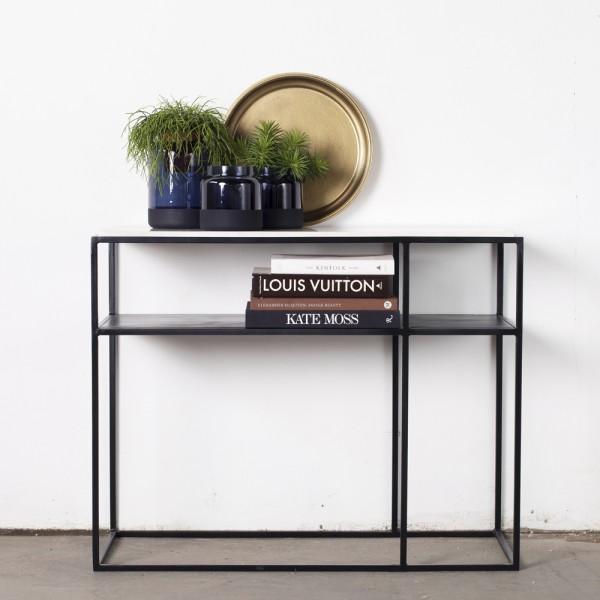 Beistelltisch Aurelia 100 x 38 cm Marmor weiß Metall Anstelltisch Tisch Kaffeetisch