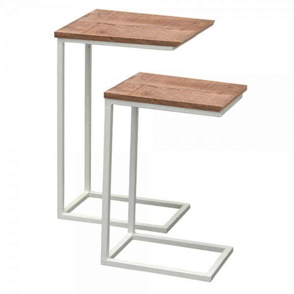 2er Set Beistelltische Jordy Mangoholz Metall weiß Sofatisch Couchtisch Tische