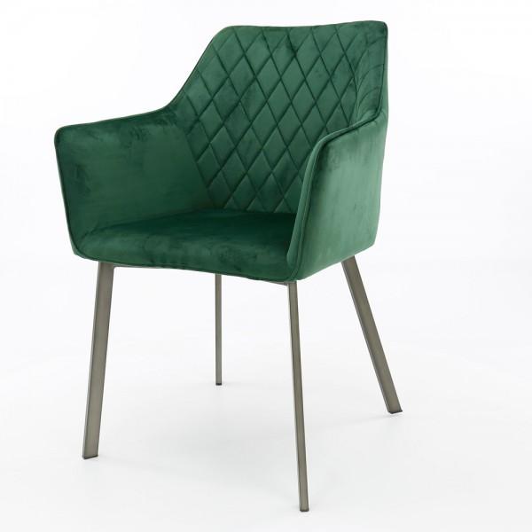 2er Set Esszimmerstuhl Rubin Samt Velvet grün Armlehnstuhl