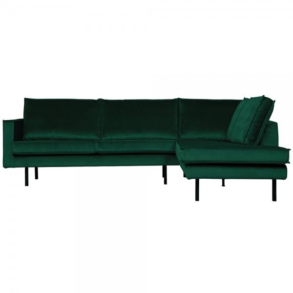 Eckgarnitur Rodeo Samt waldgrün Couch Sofa Ecksofa Longchair rechts