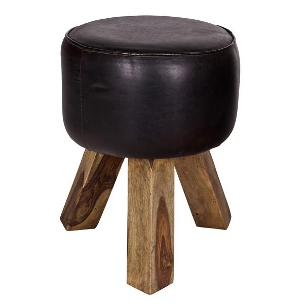 Hocker BOK Holz Leder schwarz