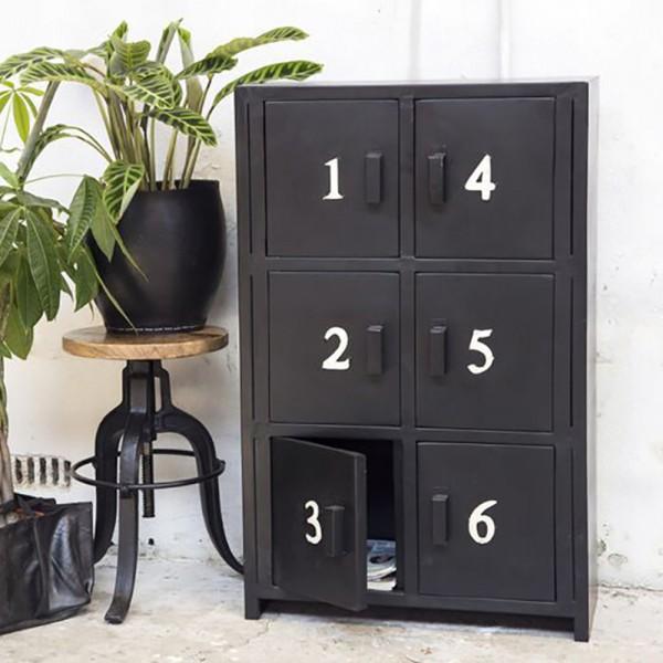 Industrie Kommode 6 Türen mit Ziffern Metall schwarz