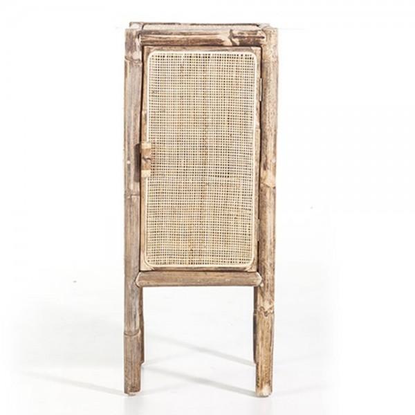 Kommode Metz 35 cm Rattan beige Natur 1 Tür Schrank Sideboard Lowboard