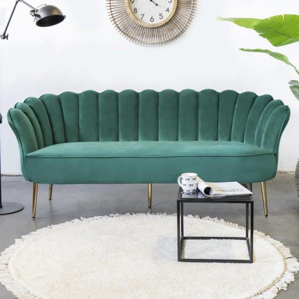 Giga 3 Sitzer Sofa Jada grün 192 cm Samt Sofabank