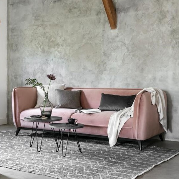 MUST LIVING 3 Sitzer Sofa Escape pink Samt Velvet Lounge Couch