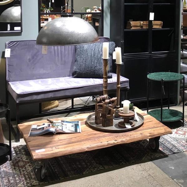 Couchtisch auf Rollen 120 x 80 cm Massivholz rustikal Patina Sofatisch Tisch Beistelltisch