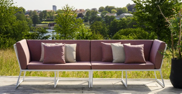 Design Gartenbank Bank VENICE 284 cm incl. Sitzpolster Aluminium