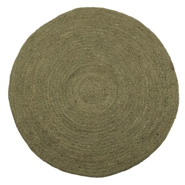 woood Teppich Ross armygrün rund Ø 150 cm Jute