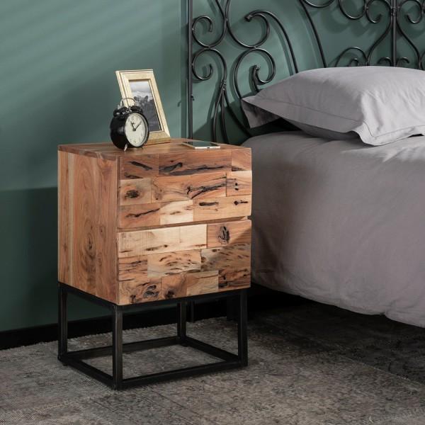 Nachttisch Milla 2 Schubladen Metall Holz Nachtschränkchen