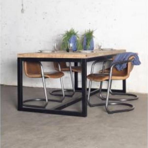 Industrie Design Esstisch Marco 180 x 100 cm Esszimmertisch Tisch Teak Massivholz Gestell Metall