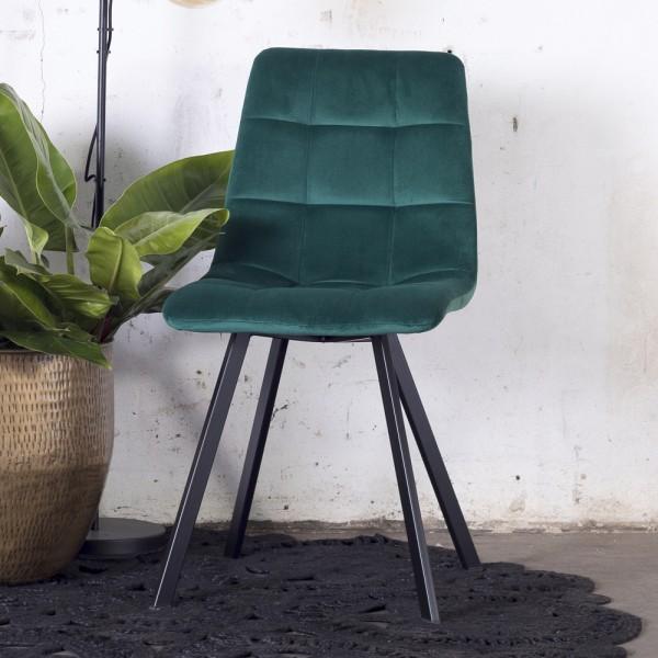 2´er Set Esszimmerstuhl Lola Samt dunkelgrün Stuhl