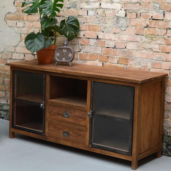Vintage Sideboard East West 155 cm Teak Massivholz Schubladen Türen Kommode