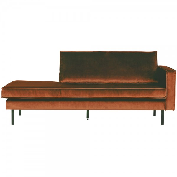 Sofa Chaiselongue RODEO Recamiere Samt rostfarben rechts Tagesbett