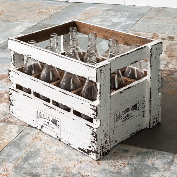 MUST LIVING Dekokisten Weinkiste Great Crate 12 Flaschen Flaschenkisten Holz Vintage weiß