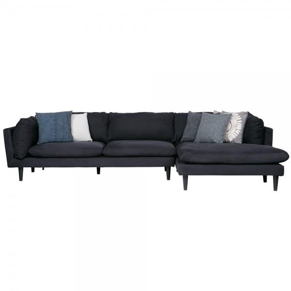 Eckgarnitur Rocky Wildlederoptik schwarz Couch Sofa Ecksofa Longchair rechts Eckcouch