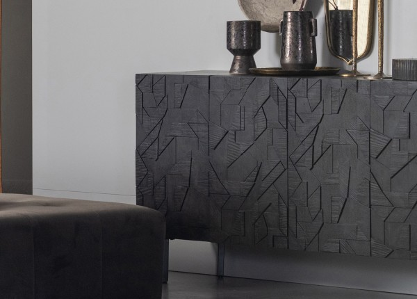 BePureHome Kommode Counter 160 cm Mango Metall schwarz Schnitzerein Schrank Türenschrank