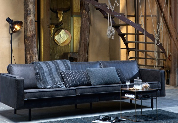BePureHome 3 Sitzer Sofa RODEO recyceltes Leder schwarz