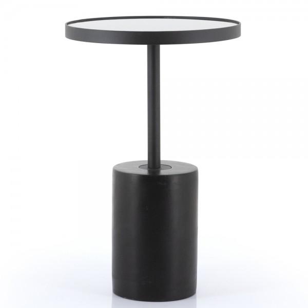 Beistelltisch Dongol Ø 41 cm Beton Metall Glas schwarz Anstelltisch Couchtisch