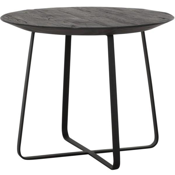 DTP Home Beistelltisch Neptunes Ø 50 cm schwarz Anstelltisch Kaffeetisch Massivholz Metall