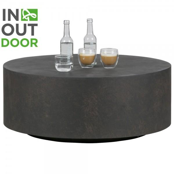 Couchtisch DEAN Ø 80 cm Tonfaser braun Beistelltisch Sofatisch Tisch