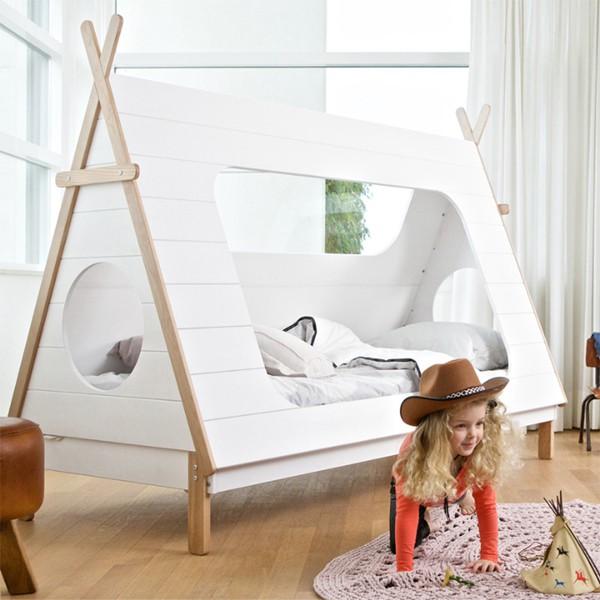 Kinderbett TIPI Indianerzelt Wigwam Zelt Bett Jugendbett 200 x 90 cm weiß