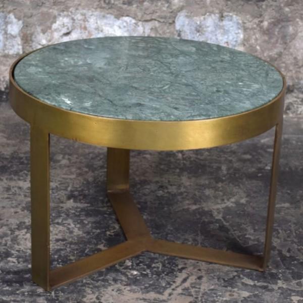 Beistelltisch Glennis Marble Ø 50 cm Green Gold Marmor Metall