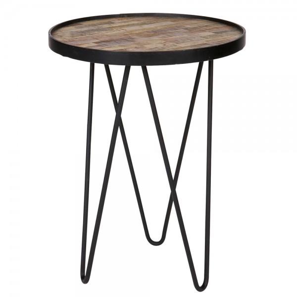 Beistelltisch Couchtisch LEV Ø 39 cm Tisch Metall + Holz