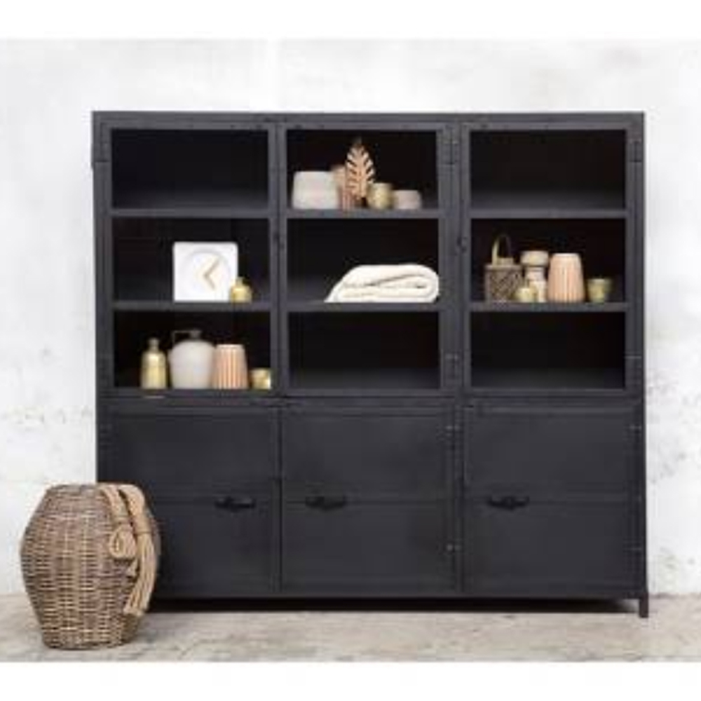 vitrinenschrank ingeborg schwarz industrie schrank vitrine metallschrank vintage metall new. Black Bedroom Furniture Sets. Home Design Ideas