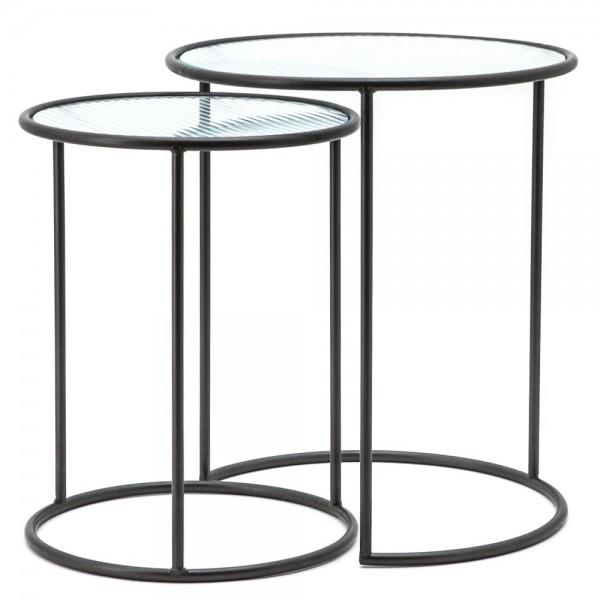 2er Set Beistelltische Nova Metall schwarz Glas Sofatisch Anstelltische Tische